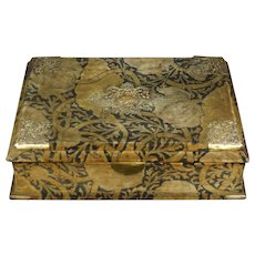 Antique French Velvet Boudoir Box Original Art Nouveau Voysey Style Fabric Circa 1890