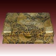 Antique French Velvet Jewelry Box Original Art Nouveau C F Voysey Style Fabric Circa 1890
