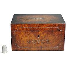 19th Century 'Joyce' Mahogany Money Box English Folk Art Painted Partridge Wood Faux Grain