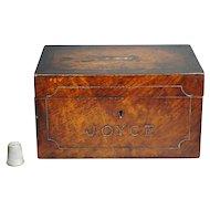19th Century Money Box English Mahogany Folk Art Coin Bank Painted Partridge Wood Faux Grain