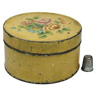 Antique Small Hand Painted Tole Box Yellow Floral Folk Art Circa 1900