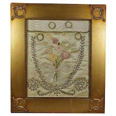 18th Century Georgian Silk Workbag Reticule Fragment Sequinned Ribbon Work Stunning French Empire Frame Circa 1800