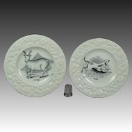 19th Century Pair Staffordshire Childs Toy Plate Dog and Deer Circa 1830 FOLK ART