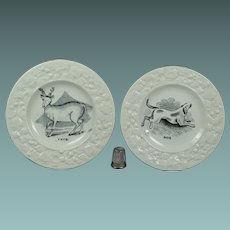 19th Century Staffordshire Childs Toy Plate Dog Deer Circa 1830