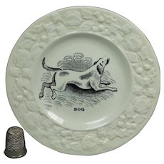 Antique Miniature Staffordshire Childs Plate Dog, Georgian  Circa 1830