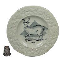 Antique Miniature Staffordshire Childs Plate Deer, Stag, Hart, Georgian  Circa 1830