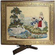 19th Century Victorian Needlework Folio Case Stationery Folder Figural Petit Point Quality Piece 1860s