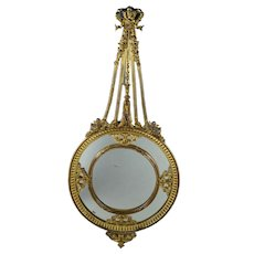 Antique French Mirror Bronze Dore Rococo Partitions Putti Circa 1860 Napoleon III