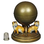 Antique French Pug Dog Inkwell Porcelain Gilt Metal Circa 1890