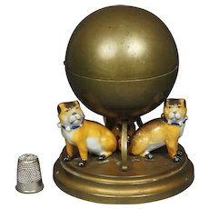 Antique French Pug Dog Inkwell Porcelain Gilt Metal Circa 1890