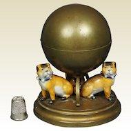 19th Century French Pug Dog Inkwell Porcelain Gilt Metal Circa 1890