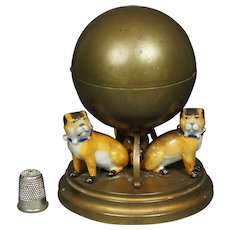 19th Century French Pug Dog Inkwell Porcelain Gilt Metal Circa 1890