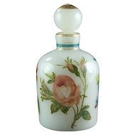 Antique French Pretty Pastels Scent Bottle White Opaline Glass Hand Painted Flowers 1860