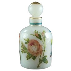 French Antique 19th Century Opaline Glass Early Vallerysthal Portieux Limoges Style Perfume Eau de Cologne Dresser Bottle 1860