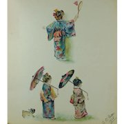 Antique Album Watercolor Painting and Drawings Cats Children Acrostic Verse English 1911 Edwardian Ephemera