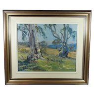 Italian Landscape Blue Gum Trees Oil on Board Australian Impressionist Geoffrey Davis Circa 1960s
