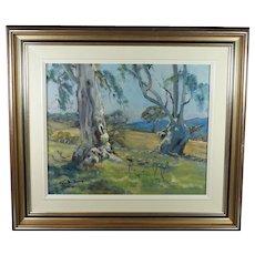 Vintage Landscape Blue Gum Trees, Oil on Board, Australian Impressionist Geoffrey Davis Circa 1960s