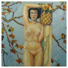 American Impressionist Nude Portrait Pomona Oil Painting Cyril Saunders Spackman Circa 1935