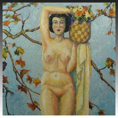 American Impressionist Nude Portrait Oil Painting Cyril Saunders Spackman Circa 1935