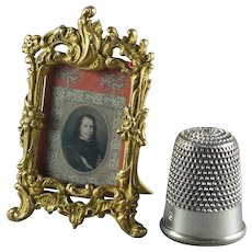 19th Century Miniature French Ormolu Easel Picture Frame Tiny Dolls House Size Circa 1870