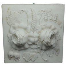 Antique Carved Alabaster Architectural Floral Tile Louis XVI Style Circa 1870