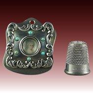 19th Century Sterling Silver Letter Clip Inset Portrait Miniature Inset Stones Art Nouveau Circa 1900