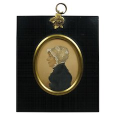 Early 19th Century A R Burt Watercolor Portrait Miniature English Regency Lady 1813 Chester England