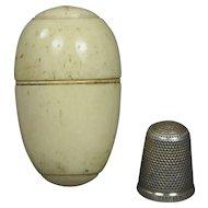 Antique 19th Century Bone Egg Thimble Holder Etui Sewing Compendium Circa 1860