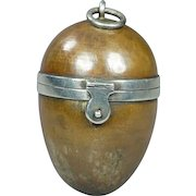 19th Century Bronze Egg Sewing Etui Thimble Holder Compendium Walter Thornhill London Victorian Circa 1870