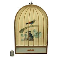Antique 19th Century French Trompe L'oeil  Bird Cage Mirror Picture Kingfisher Decoupage Circa 1860