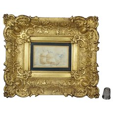 19th Century Miniature Watercolor Painting Seascape Ship Maritime Stunning Original Louis XV Style Gilt Swept Frame Circa 1860