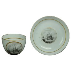 English Circa 1800 Porcelain Cup And Saucer, Sailing Ship, George III Bat Printed Naval Maritime Marine AF