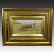 Antique Dog Landscape Watercolor Portrait Bloodhound Stephen T Dadd British Artist Circa 1880