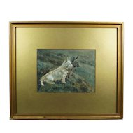 19th Century Dog Watercolor West Highland Terrier Scottish Terrier Circa 1890