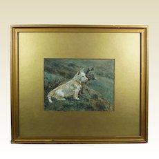 19th Century Dog Watercolor West Highland Terrier Scottish Terrier Circa 1890