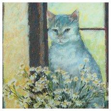 Vintage Spring Pastel Cat Portrait British Artist Shelagh Popham 1988