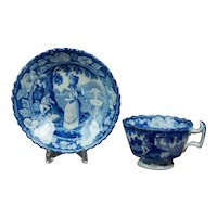 Regency Miniature Childrens Toy Cup And Saucer, Blue and White Transferware, Cattle Milkmaid, Piping Shepherd, C 1820
