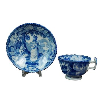 Georgian Childs Miniature Cup And Saucer, Blue and White Transferware, Circa 1820 Cattle Milkmaid Piping Shepherd, Rural Landscape