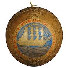 Decorative Victorian Hand Carved Coconut Shell British Guiana Naval Ship Folk Art 1900