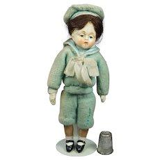 1930s Miniature Composition Doll,  Sailor Outfit, Hummel, Goebel, Lenci Style
