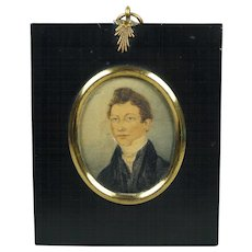 Antique Regency Watercolor Portrait Miniature On Card Handsome English Gent Circa 1810 Georgian