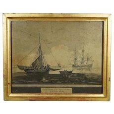 19th Century English Engraving Georgian Sailing War Ship Cutter Naval Maritime Kent England 1810