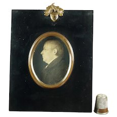 J H Gillespie Miniature Portrait Profile, Georgian Gentleman Circa 1820