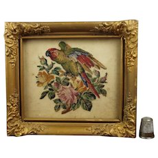 RARE Antique 19th Century Miniature Needlework, Needlepoint Lory Parrot, after Landseer Circa 1840