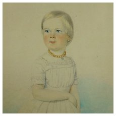 Antique Watercolor Portrait Young Girl Beautiful Circa 1840 European School