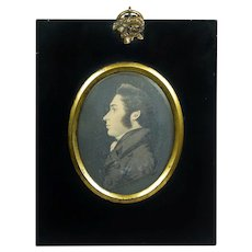J H Gillespie Portrait Miniature Profile With Original Trade Label Circa 1820