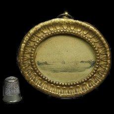 Antique Georgian Miniature Pencil Drawing Ship Maritime French Pressed Paper Frame Circa 1820