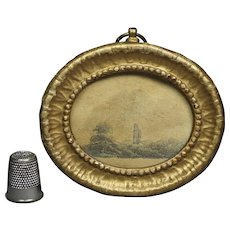 Antique Miniature Georgian Pencil Drawing French Pressed Paper Frame Circa 1820