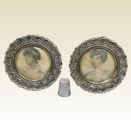 Antique 19th Century Pair Miniature Brass Photo Frames Stipple Engravings George III Daughters Elizabeth Sophia 1827