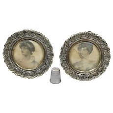 Antique 19th Century Pair Miniature Brass Photo Frames Stipple Engravings George III Daughters Elizabeth Sophia 1827